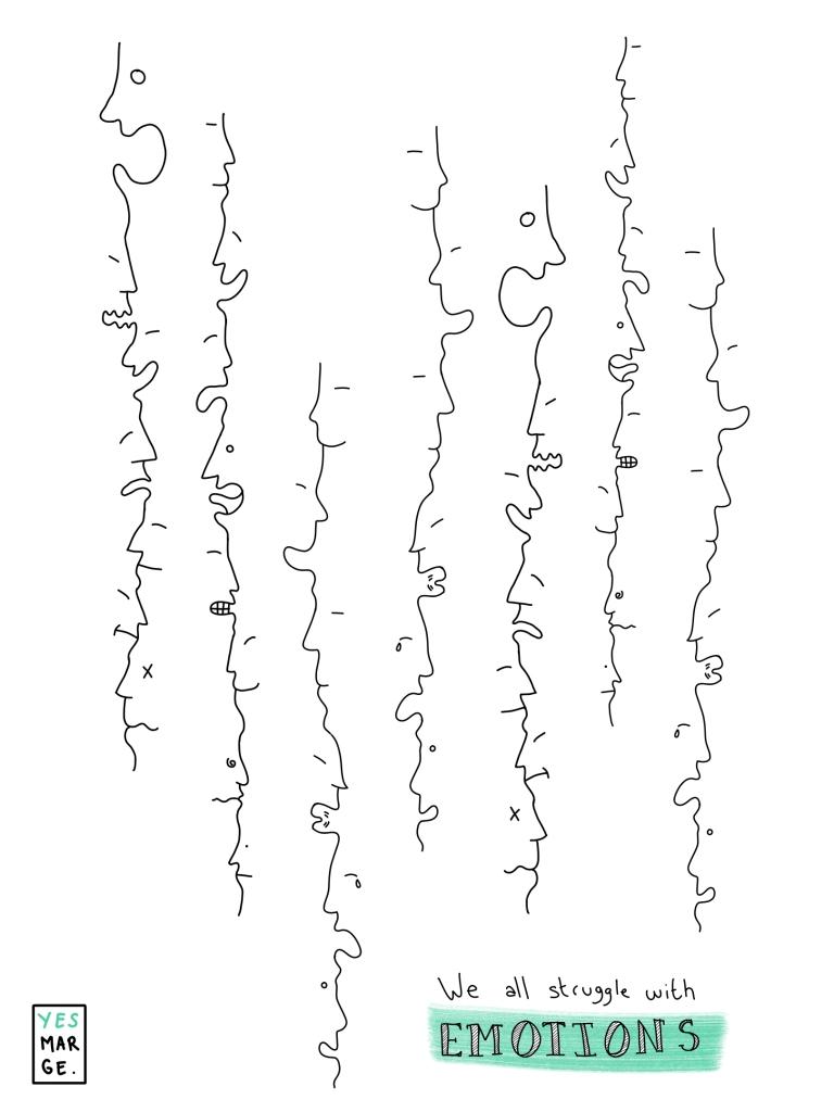 Les émotions quand on est freelance. Illustration sur iPad avec Apple Pencil par © Yesmarge - Tous droits réservés.